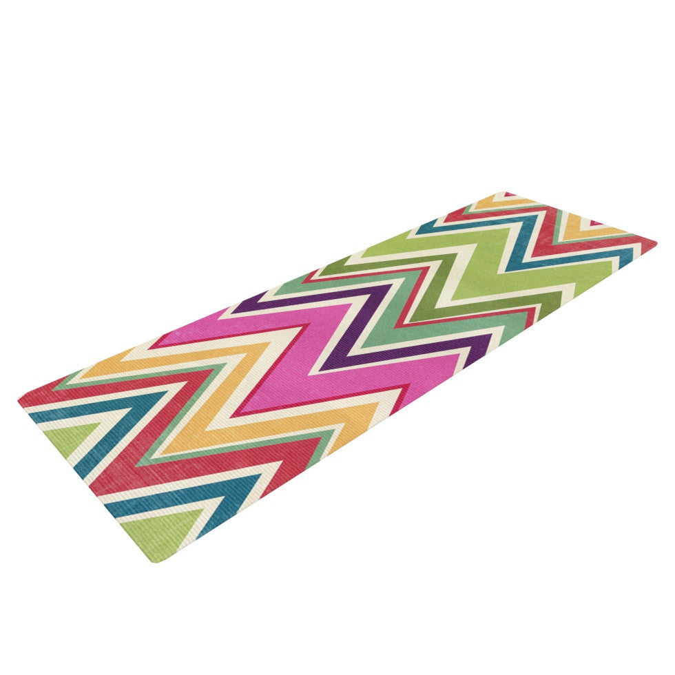 "Heidi Jennings ""Clash Of Color"" Rainbow Chevron Yoga Mat - KESS InHouse  - 1"
