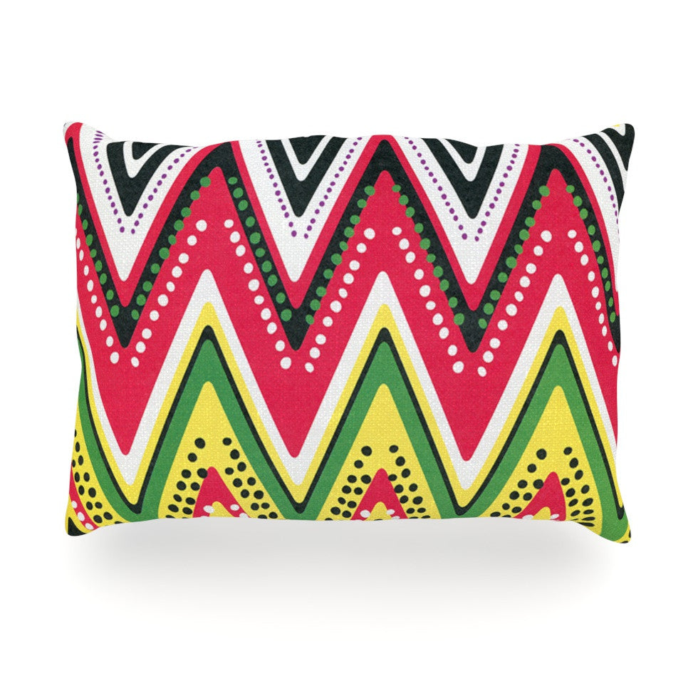 "Heidi Jennings ""Jamaican Me Crazy"" Yellow Red Oblong Pillow - KESS InHouse"
