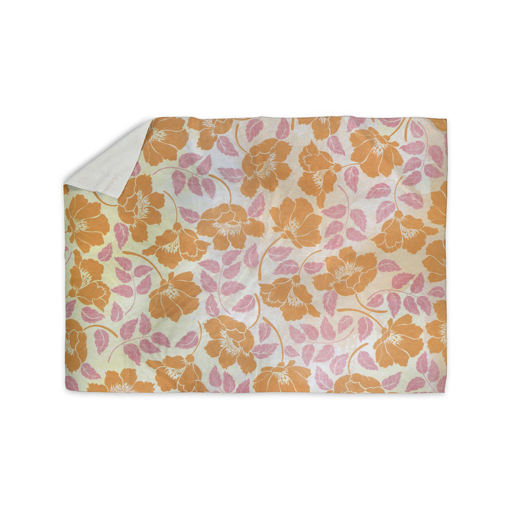 "Heidi Jennings ""Sun Kissed Petals"" Orange Pink Sherpa Blanket - KESS InHouse  - 1"