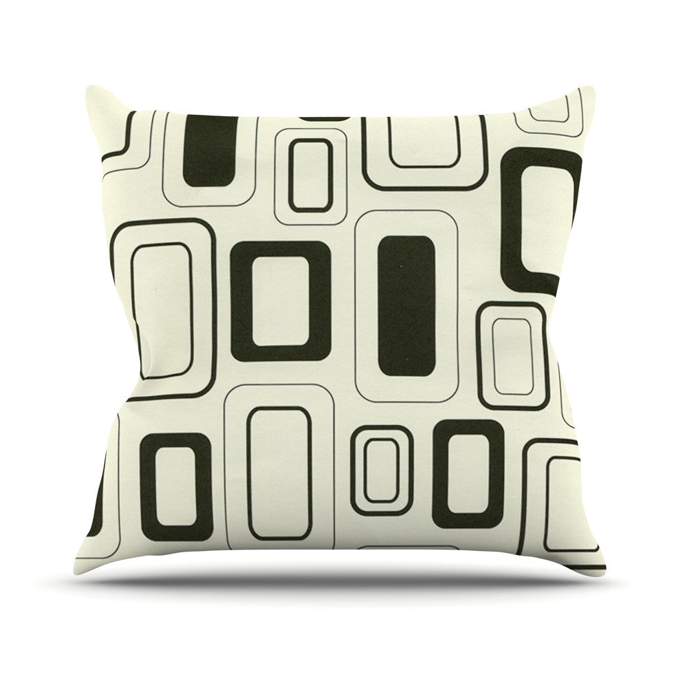 "Heidi Jennings ""Cubes For Days"" Neutral White Outdoor Throw Pillow - KESS InHouse  - 1"