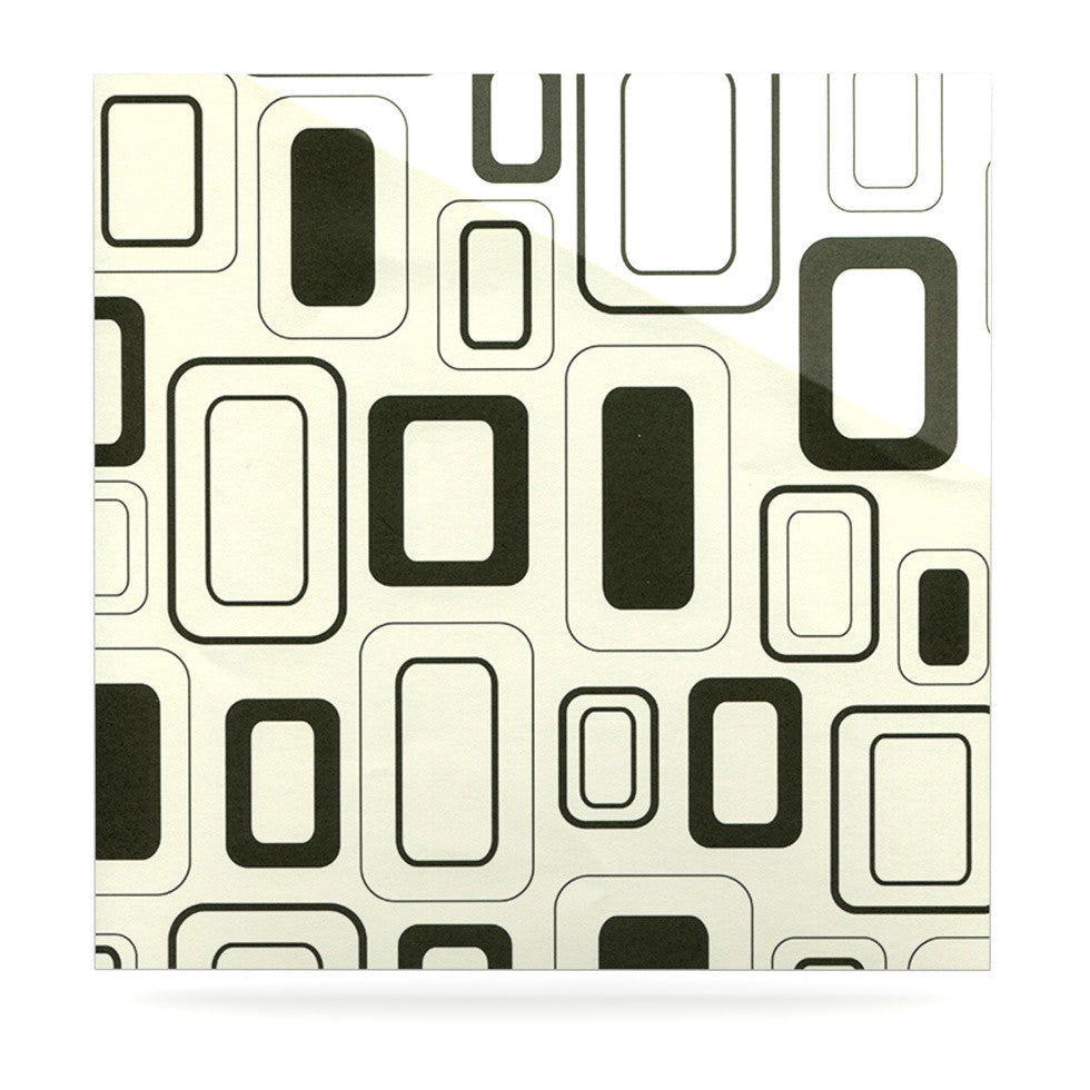 "Heidi Jennings ""Cubes For Days"" Neutral White Luxe Square Panel - KESS InHouse  - 1"