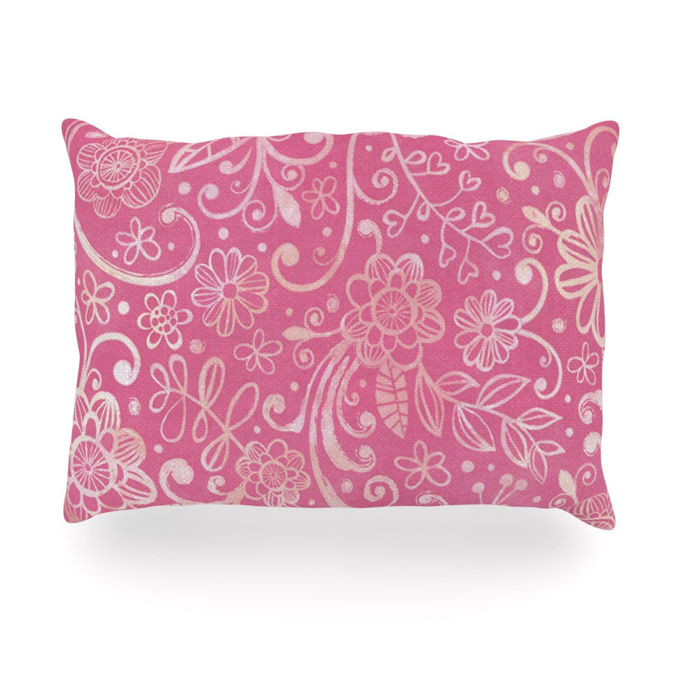 "Heidi Jennings ""Too Much Pink"" Magenta Floral Oblong Pillow - KESS InHouse"