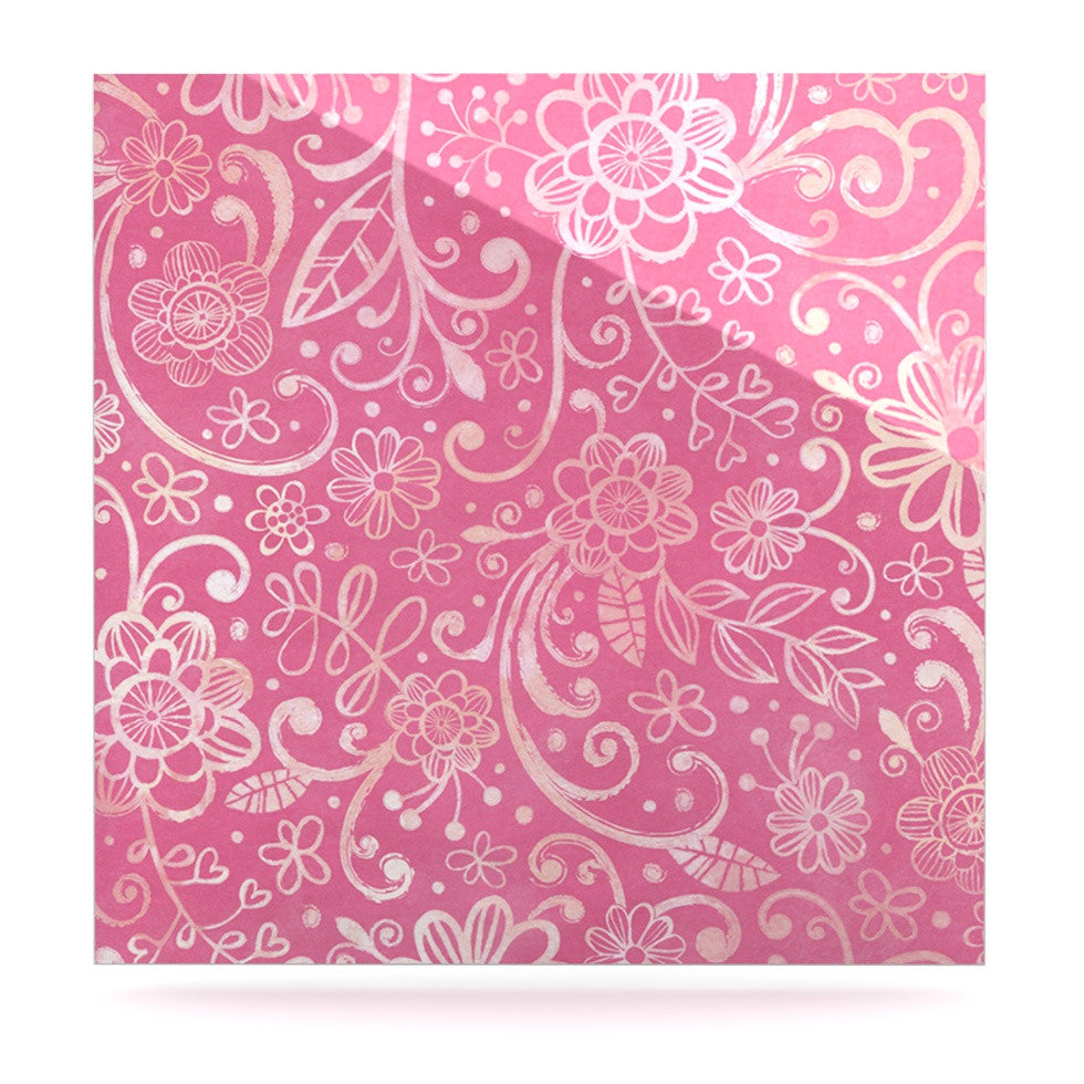 "Heidi Jennings ""Too Much Pink"" Magenta Floral Luxe Square Panel - KESS InHouse  - 1"