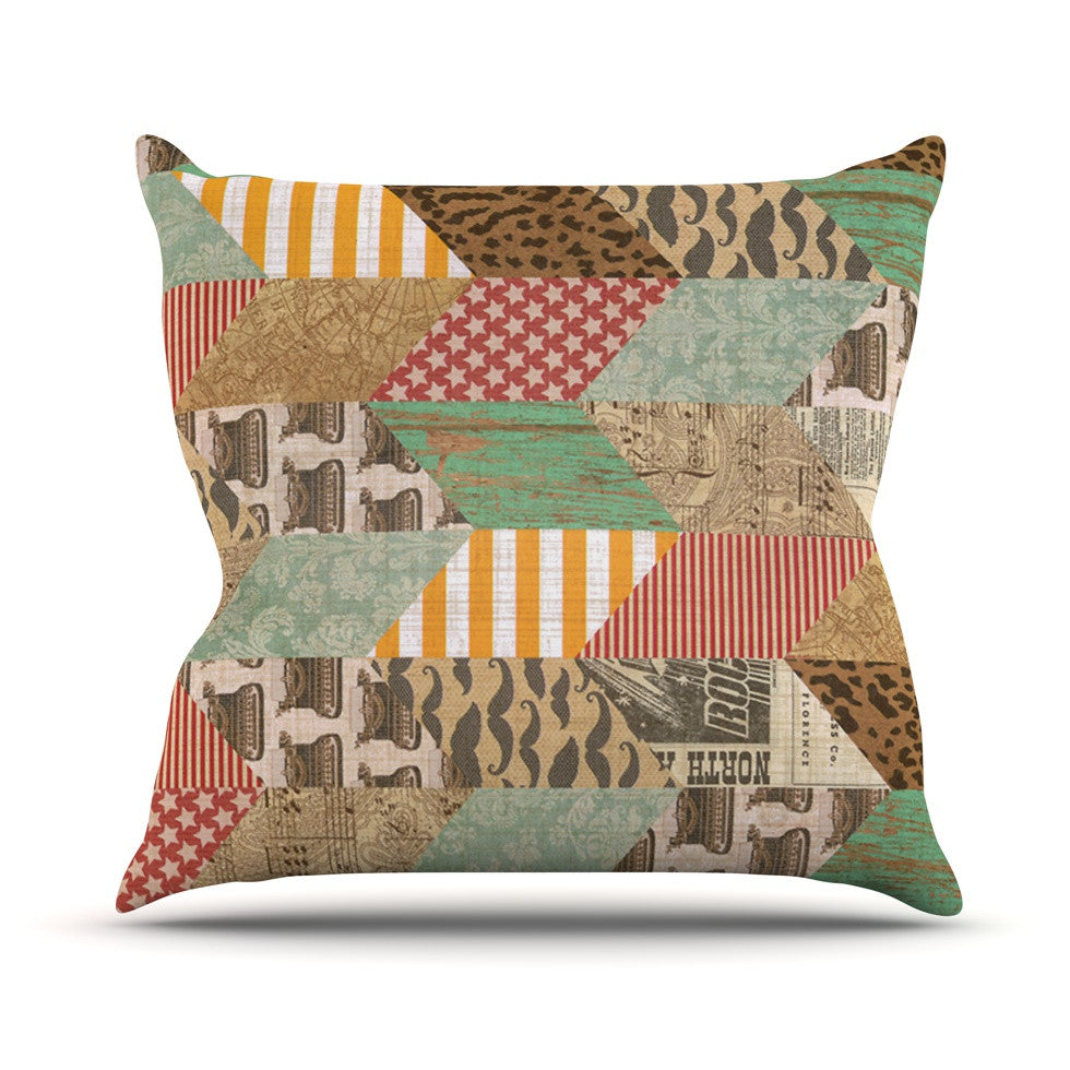 "Heidi Jennings ""Hodge Podge"" Vintage Texture Outdoor Throw Pillow - KESS InHouse  - 1"