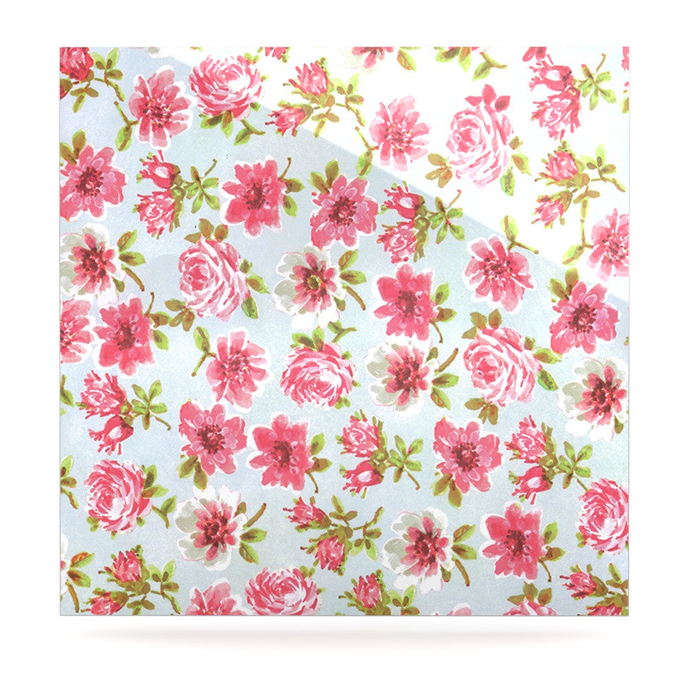 "Heidi Jennings ""Petals Forever"" Blue Pink Luxe Square Panel - KESS InHouse  - 1"