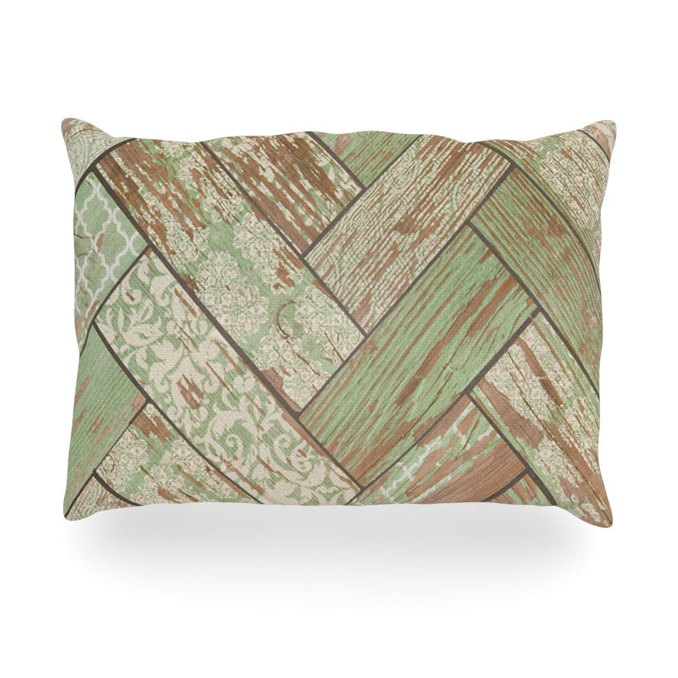 "Heidi Jennings ""Patina"" Green Wood Oblong Pillow - KESS InHouse"