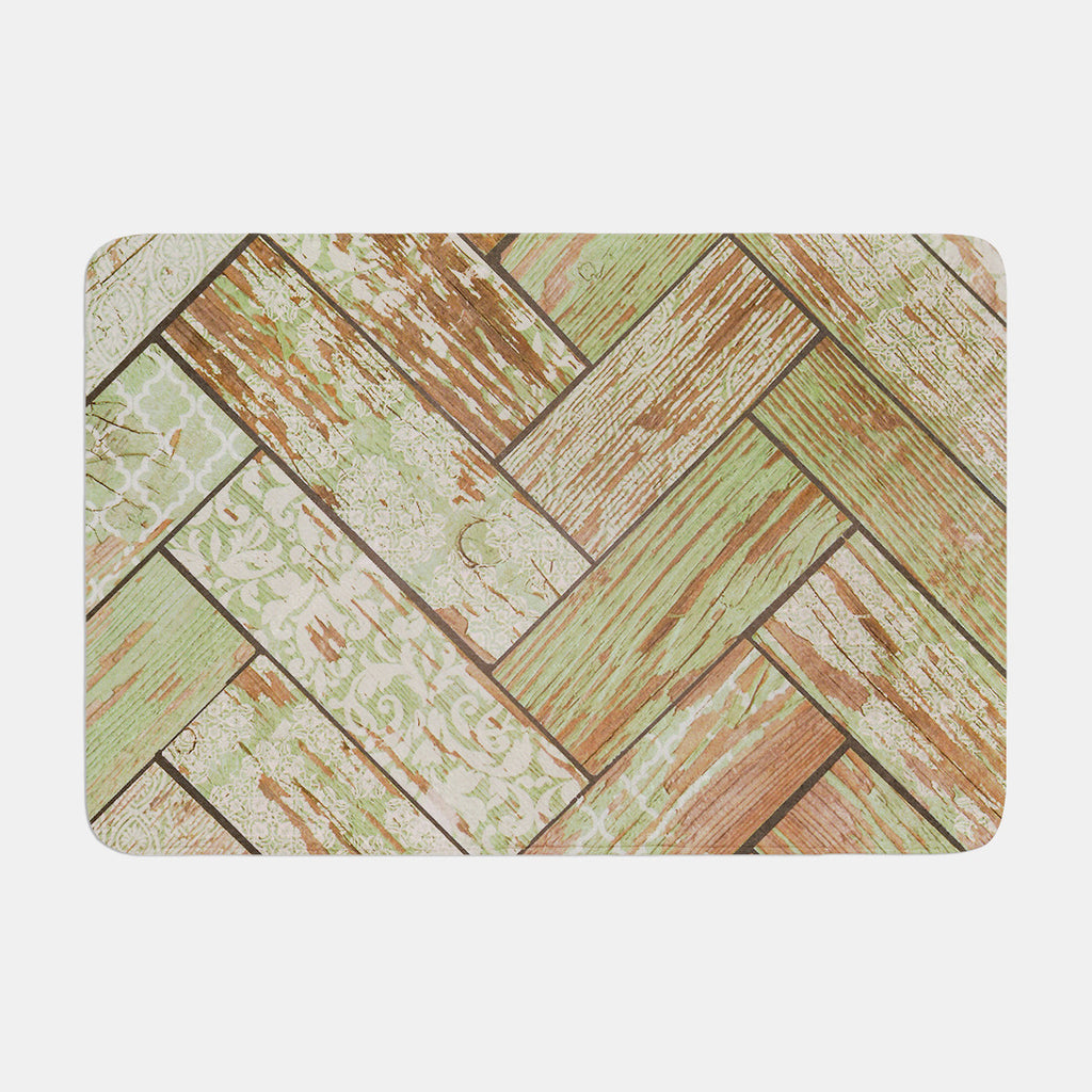"Heidi Jennings ""Patina"" Green Wood Memory Foam Bath Mat - KESS InHouse"