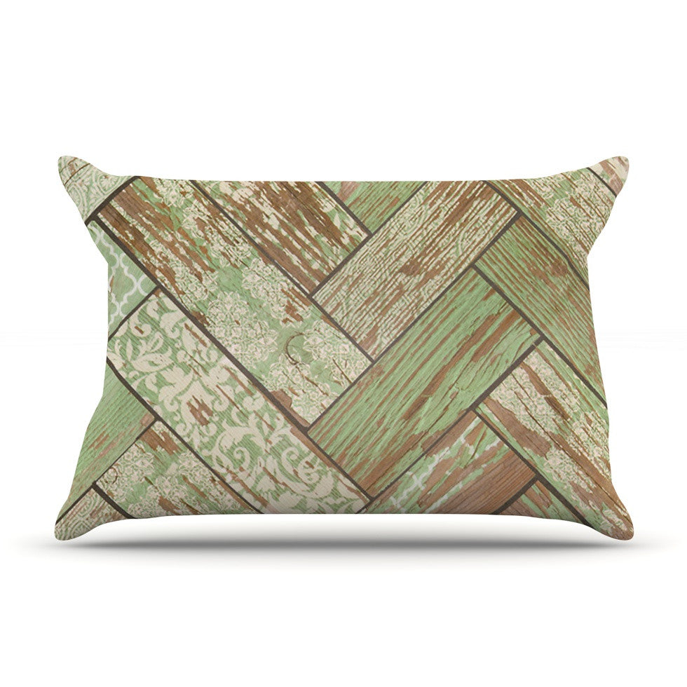 "Heidi Jennings ""Patina"" Green Wood Pillow Sham - KESS InHouse"