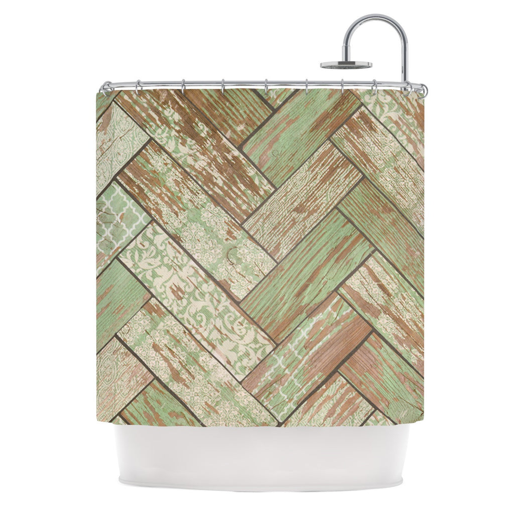 "Heidi Jennings ""Patina"" Green Wood Shower Curtain - KESS InHouse"