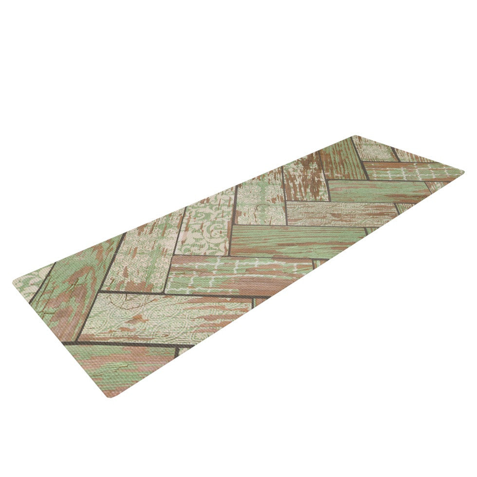 "Heidi Jennings ""Patina"" Green Wood Yoga Mat - KESS InHouse"