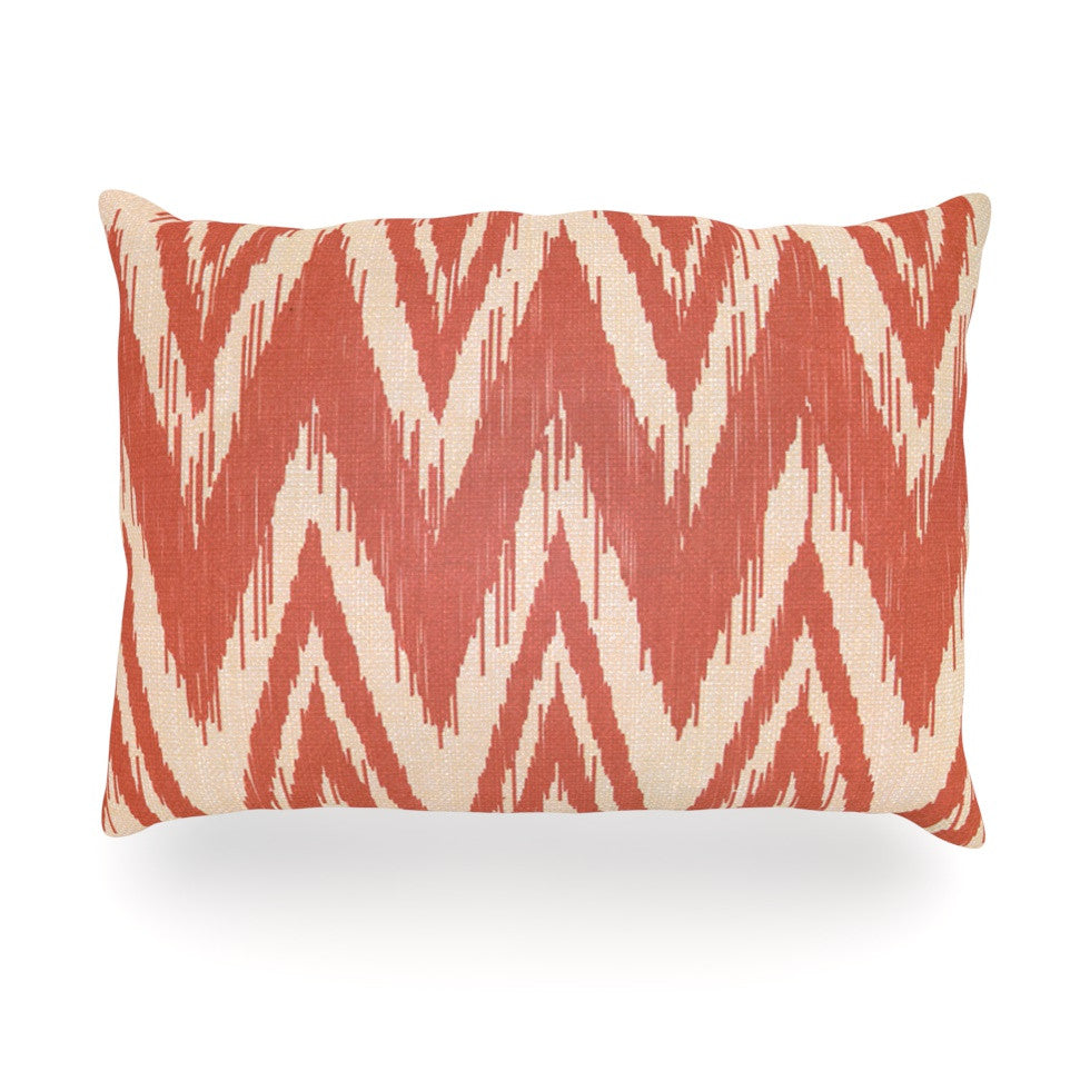 "Heidi Jennings ""Tribal Chevron Red"" Tan Maroon Oblong Pillow - KESS InHouse"