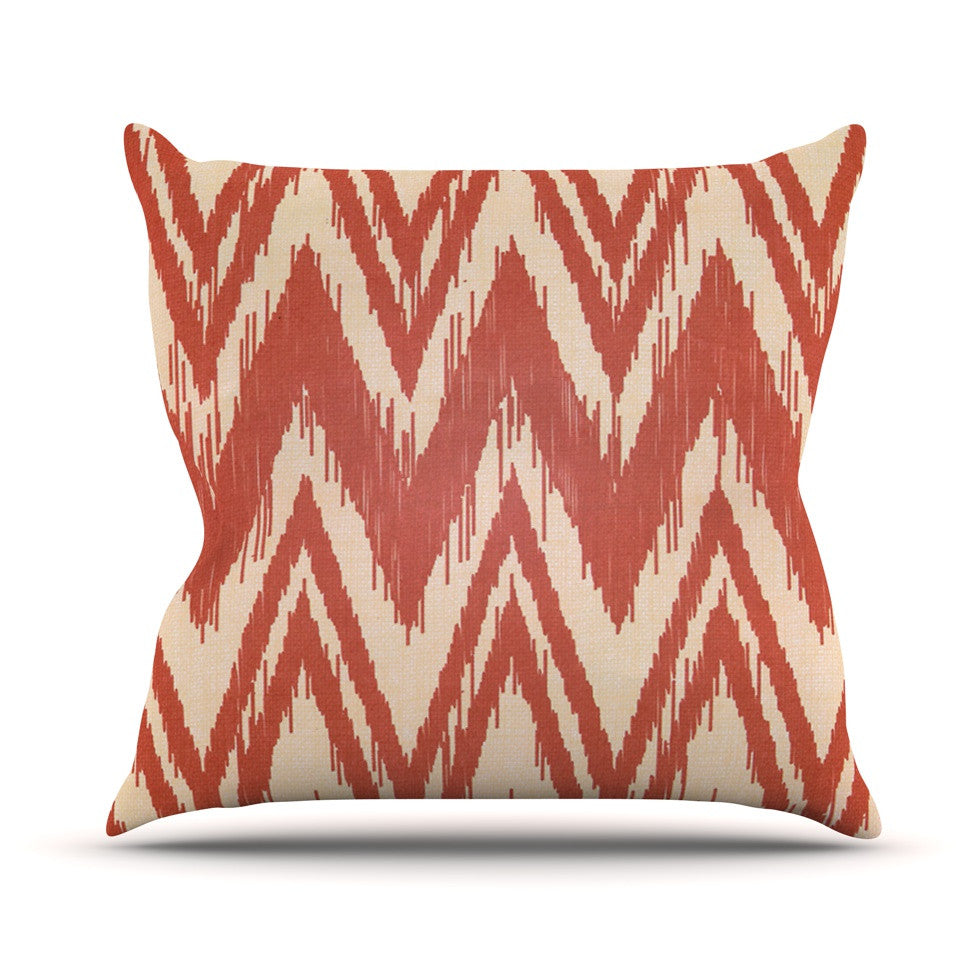 "Heidi Jennings ""Tribal Chevron Red"" Tan Maroon Outdoor Throw Pillow - KESS InHouse  - 1"