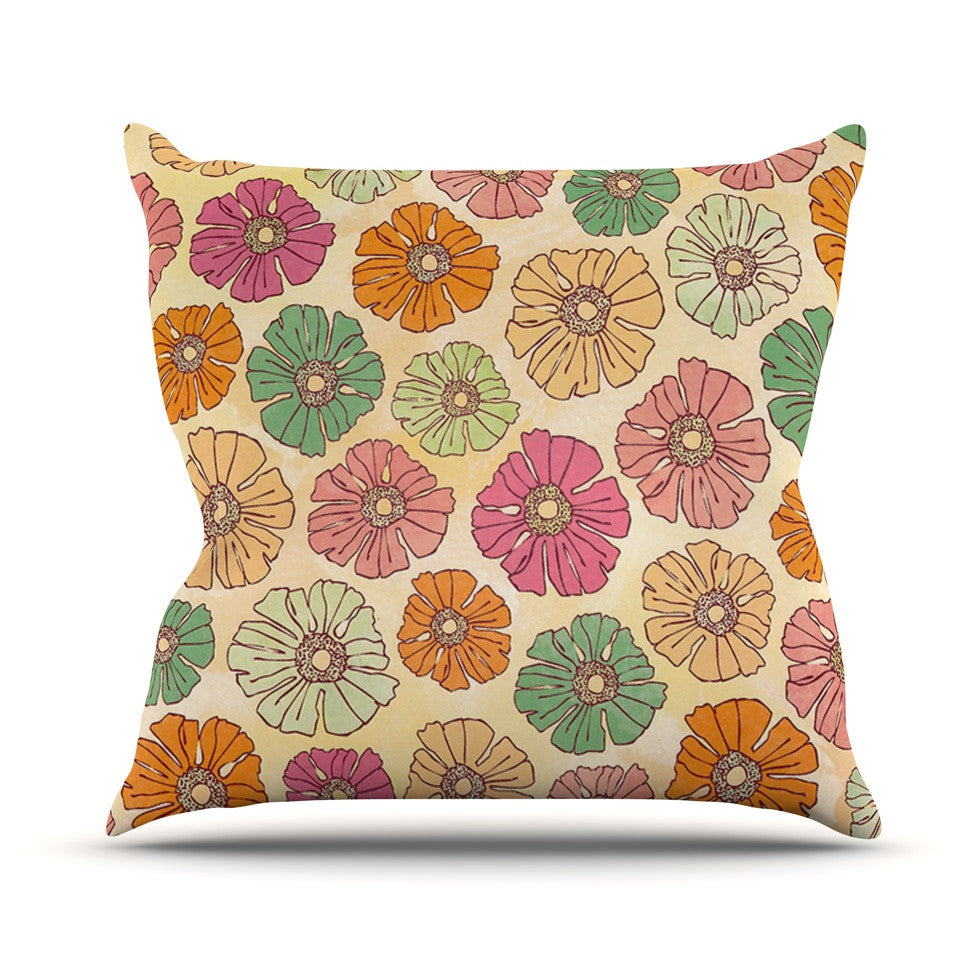 "Heidi Jennings ""Vintage Petals"" Tan Pink Throw Pillow - KESS InHouse  - 1"