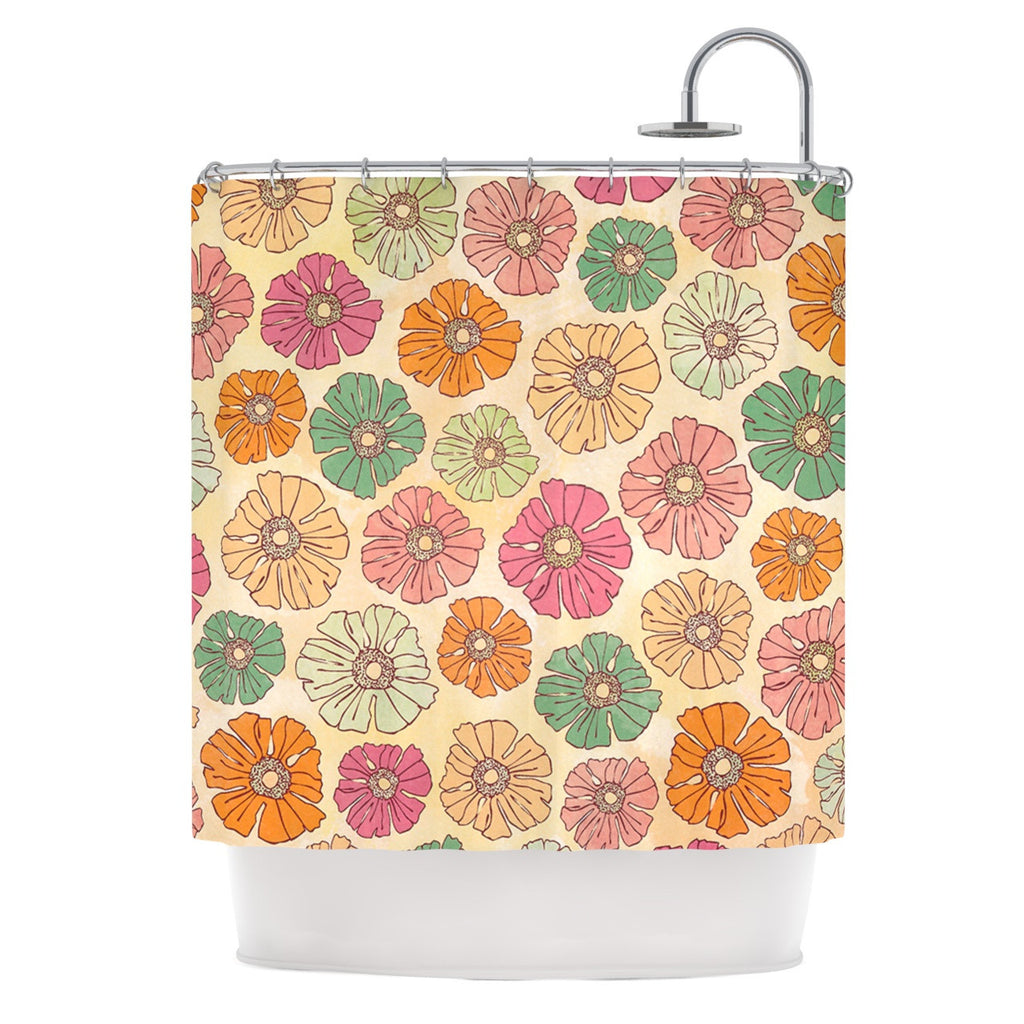 "Heidi Jennings ""Vintage Petals"" Tan Pink Shower Curtain - KESS InHouse"