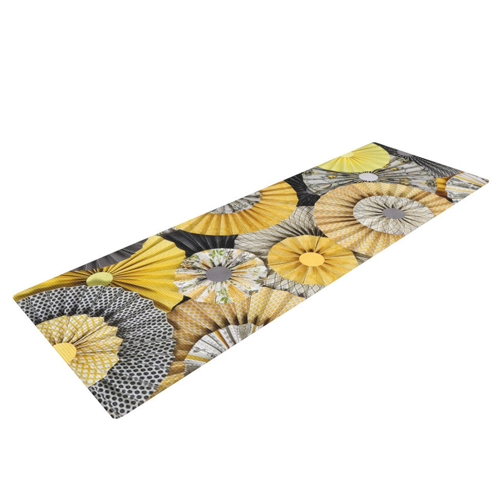 "Heidi Jennings ""Daffodil"" Yellow Black Yoga Mat - KESS InHouse  - 1"