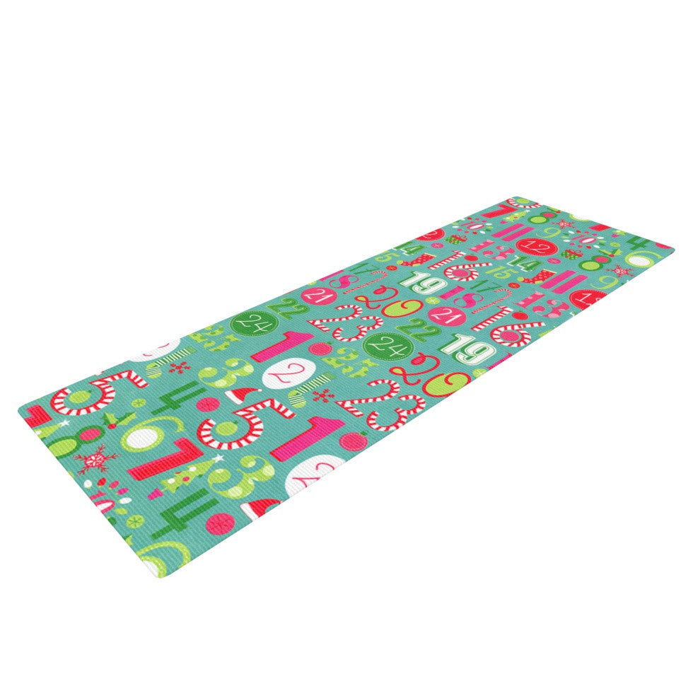 "Heidi Jennings ""Merry Countdown"" Green Pink Yoga Mat - KESS InHouse  - 1"