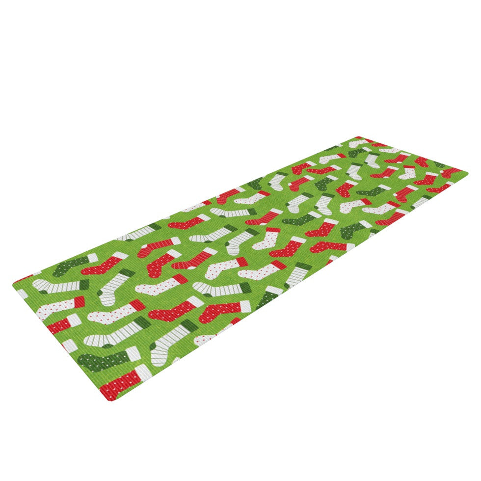 "Heidi Jennings ""Stocking Season"" Red Green Yoga Mat - KESS InHouse  - 1"