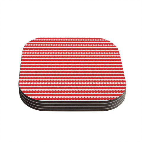 "Heidi Jennnings ""Feeling Festive"" Red White Coasters (Set of 4) - Outlet Item"