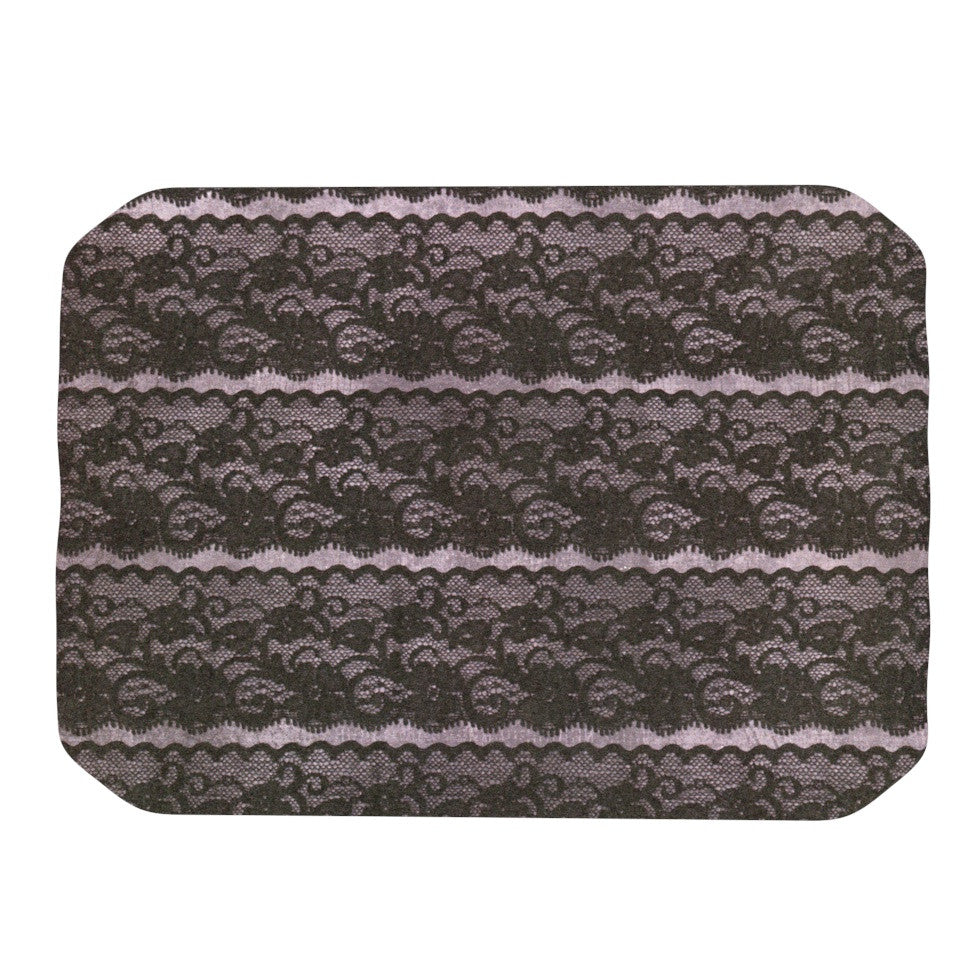 "Heidi Jennings ""Black Lace"" Gray Place Mat - KESS InHouse"