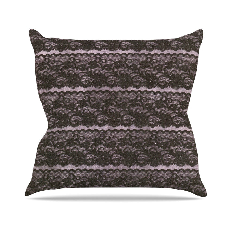 "Heidi Jennings ""Black Lace"" Gray Outdoor Throw Pillow - KESS InHouse  - 1"