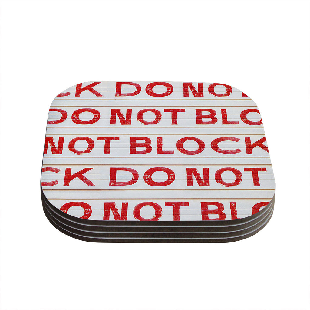 "Heidi Jennings ""DO NOT BLOCK"" White Red Coasters (Set of 4)"