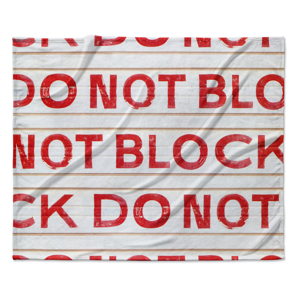 "Heidi Jennings ""DO NOT BLOCK"" White Red Fleece Throw Blanket"