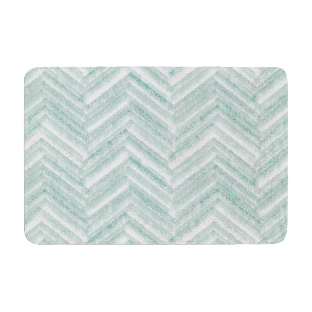 "Heidi Jennings ""Painted Chevron"" Teal Green Memory Foam Bath Mat - KESS InHouse"
