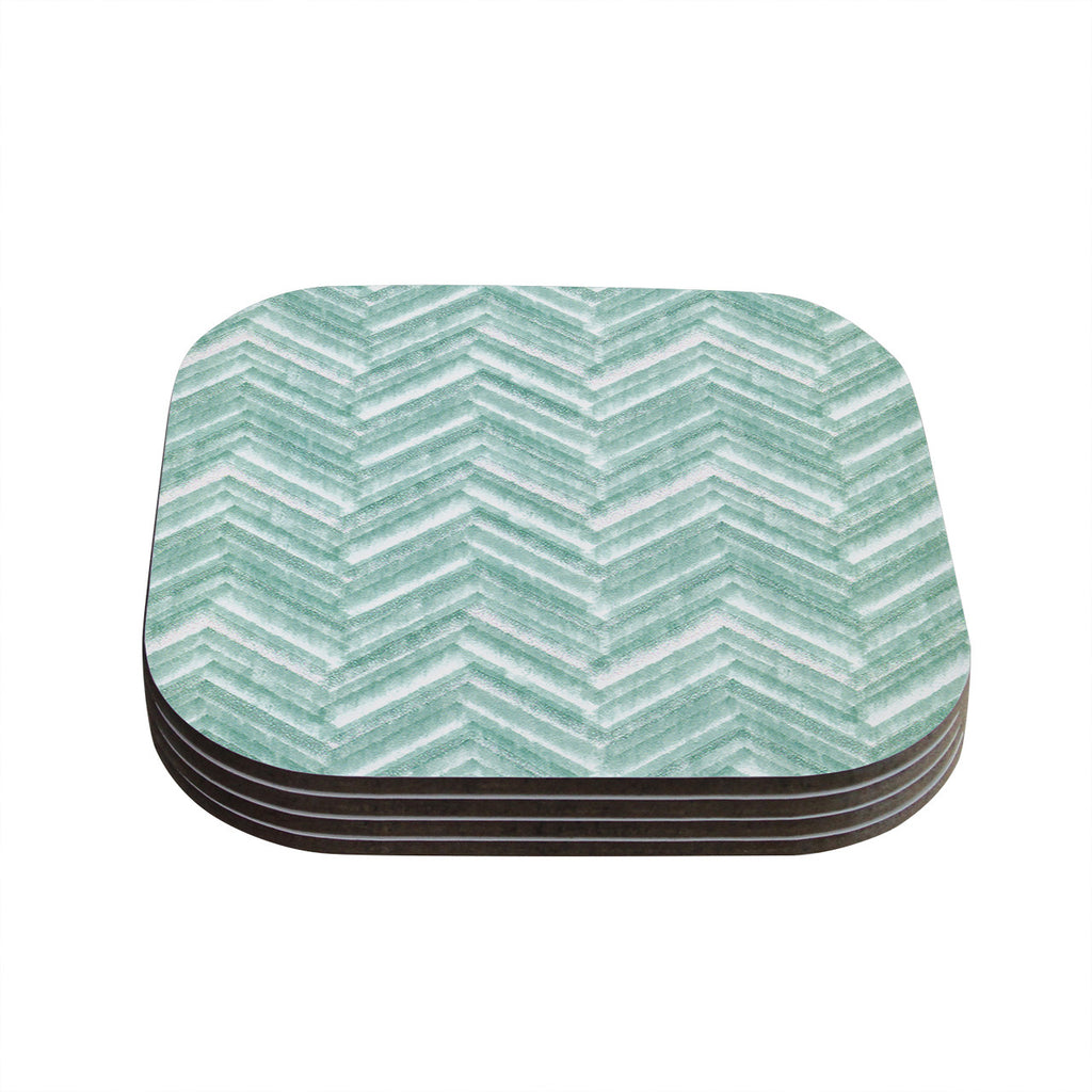 "Heidi Jennings ""Painted Chevron"" Teal Green Coasters (Set of 4)"