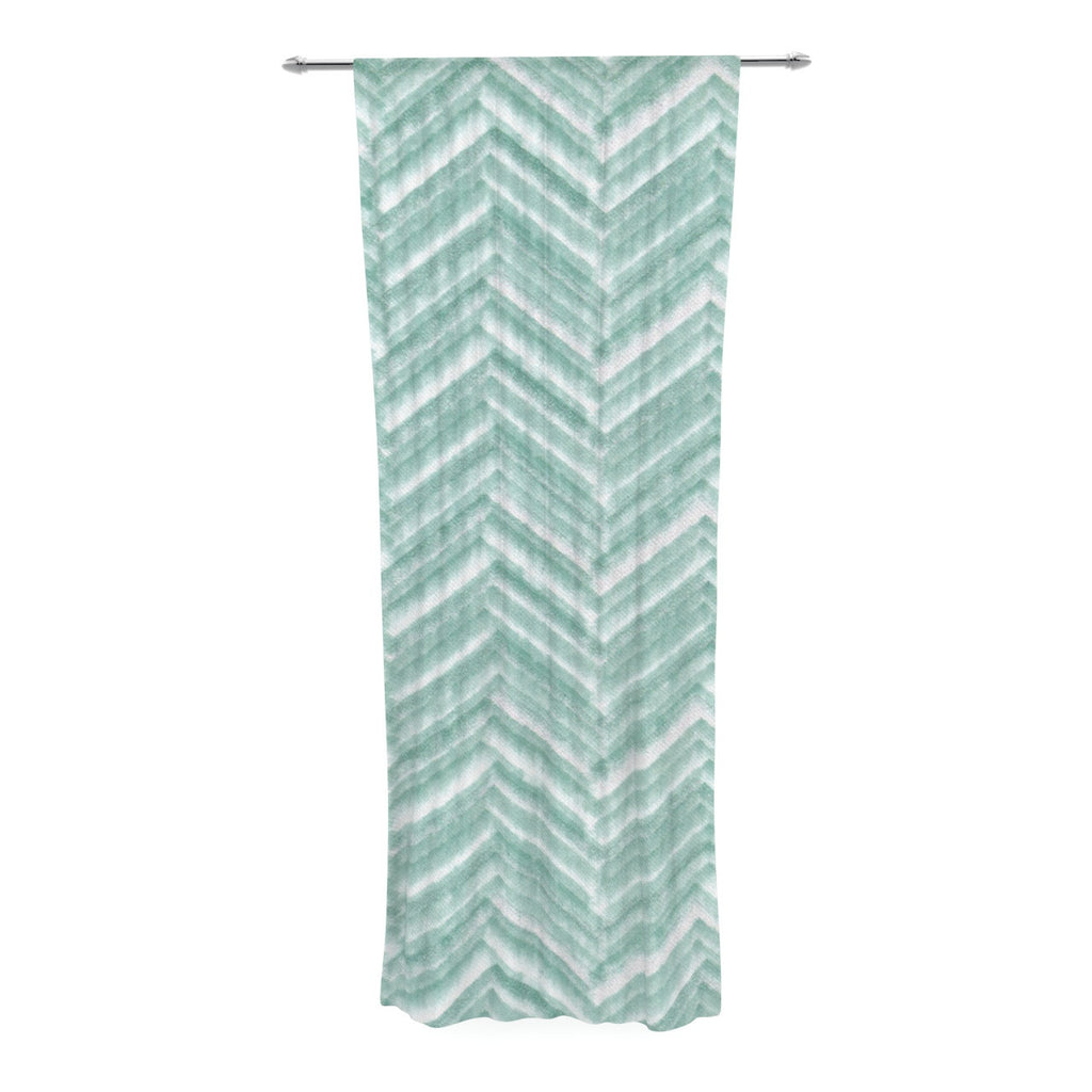 "Heidi Jennings ""Painted Chevron"" Teal Green Decorative Sheer Curtain - KESS InHouse  - 1"