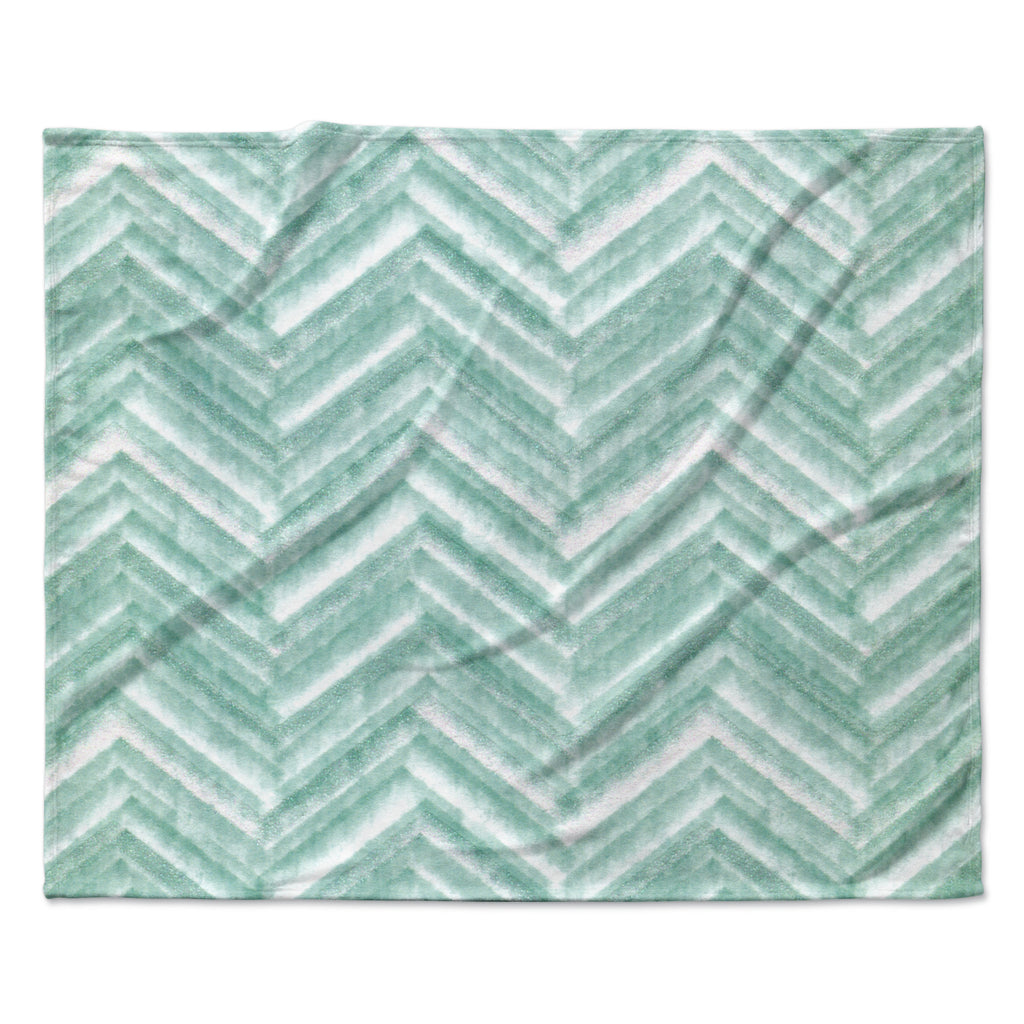 "Heidi Jennings ""Painted Chevron"" Teal Green Fleece Throw Blanket"