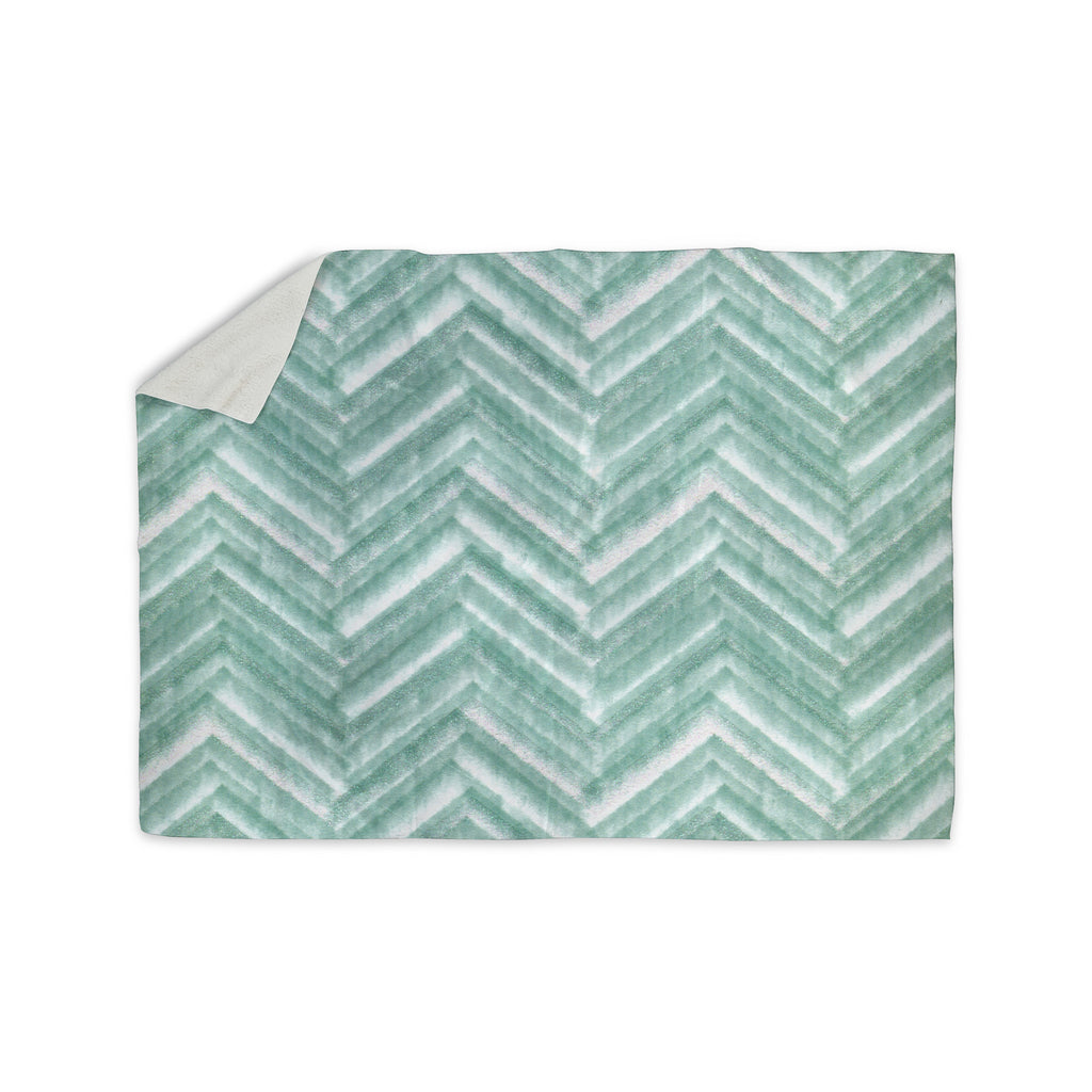 "Heidi Jennings ""Painted Chevron"" Teal Green Sherpa Blanket - KESS InHouse  - 1"
