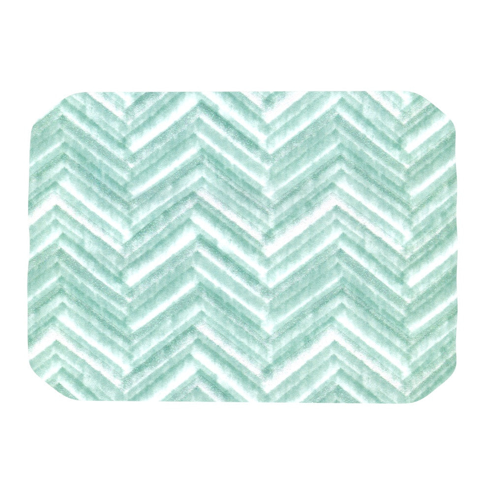 "Heidi Jennings ""Painted Chevron"" Teal Green Place Mat - KESS InHouse"