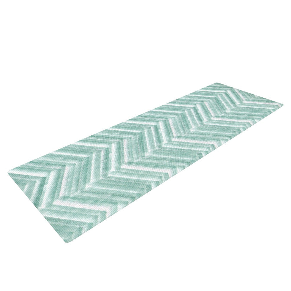 "Heidi Jennings ""Painted Chevron"" Teal Green Yoga Mat - KESS InHouse  - 1"