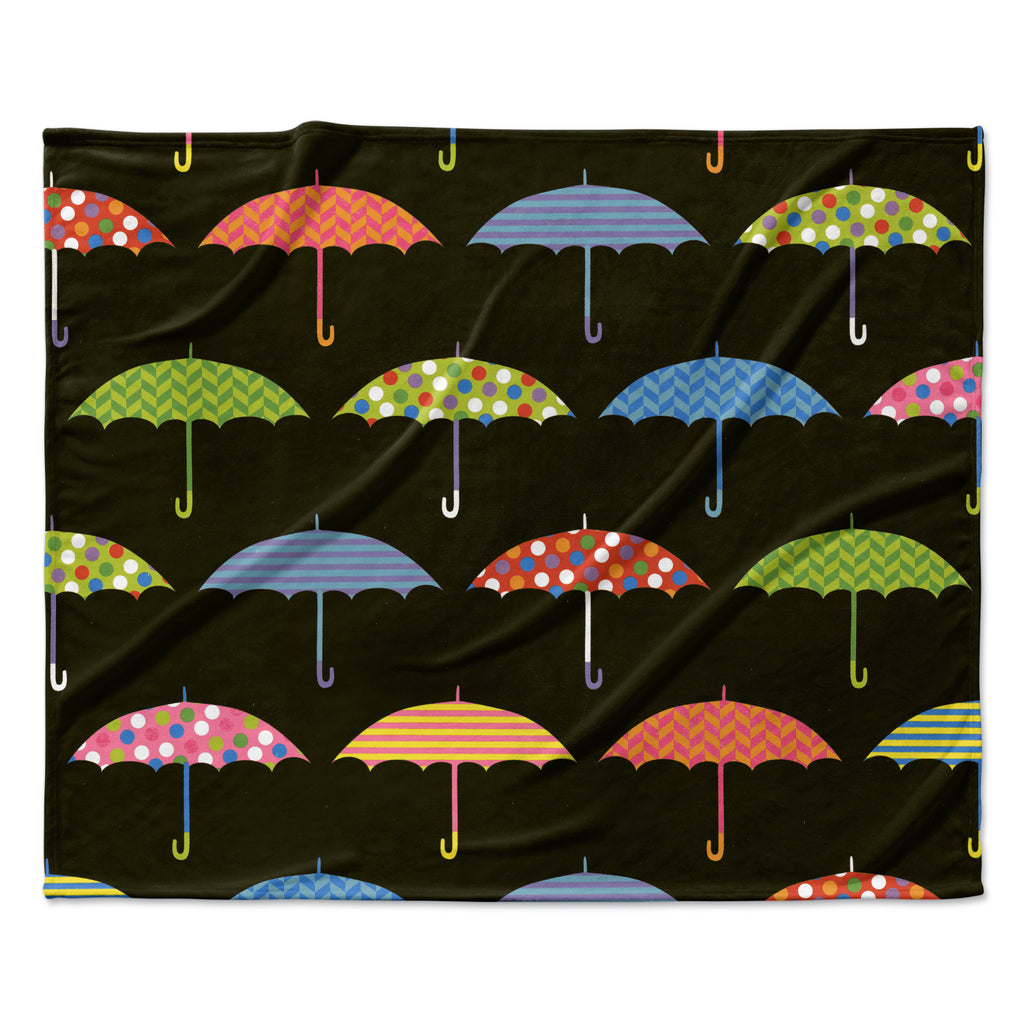 "Heidi Jennings ""Umbrella"" Multicolor Fleece Throw Blanket"