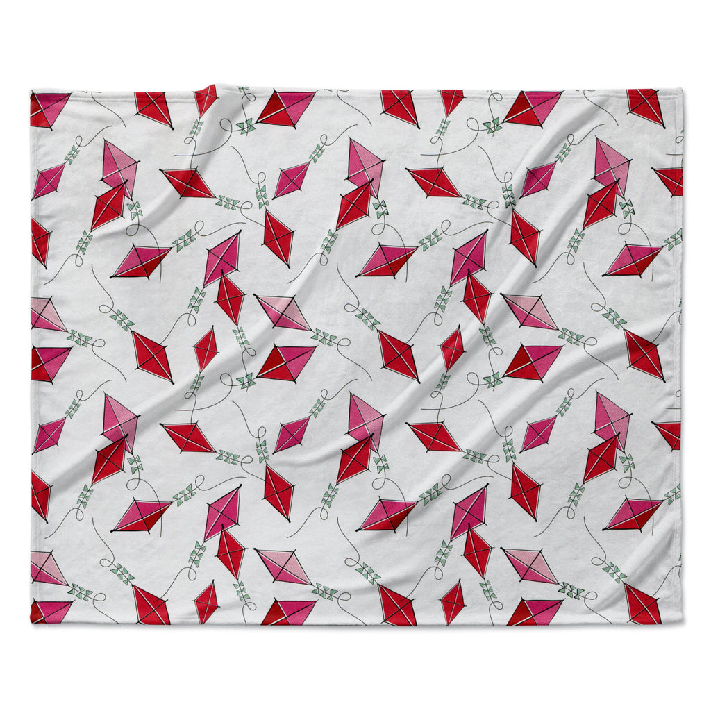 "Heidi Jennings ""Go Fly A Kite"" White Pink Fleece Throw Blanket"