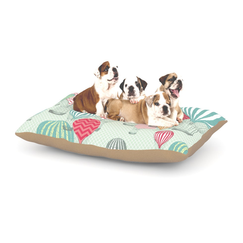"Heidi Jennings ""Hot Air Baloons"" Teal Multicolor Dog Bed - KESS InHouse  - 1"