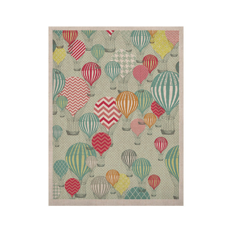 "Heidi Jennings ""Hot Air Baloons"" Teal Multicolor KESS Naturals Canvas (Frame not Included) - KESS InHouse  - 1"