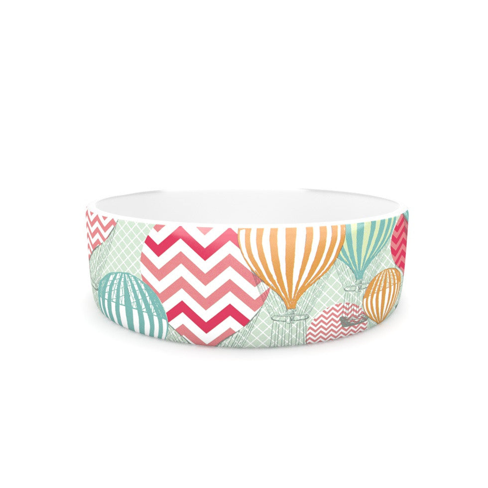 "Heidi Jennings ""Hot Air Baloons"" Teal Multicolor Pet Bowl - KESS InHouse"