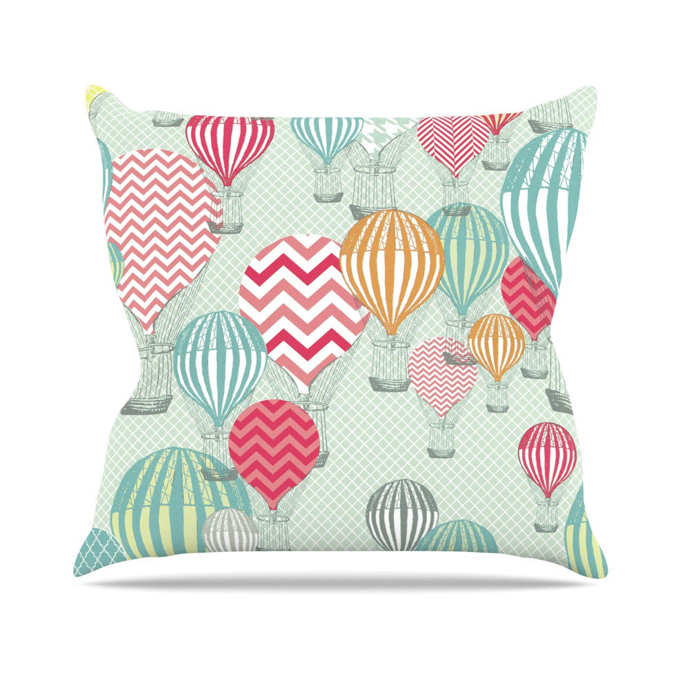 "Heidi Jennings ""Hot Air Baloons"" Teal Multicolor Outdoor Throw Pillow - KESS InHouse  - 1"