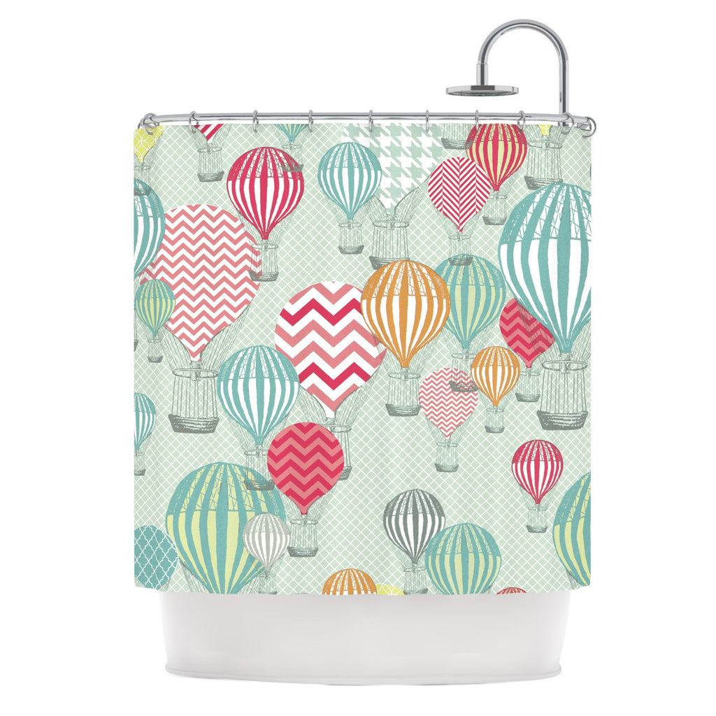 "Heidi Jennings ""Hot Air Baloons"" Teal Multicolor Shower Curtain - KESS InHouse"