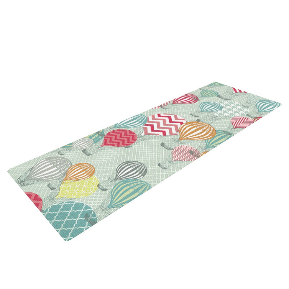 "Heidi Jennings ""Hot Air Baloons"" Teal Multicolor Yoga Mat - KESS InHouse  - 1"