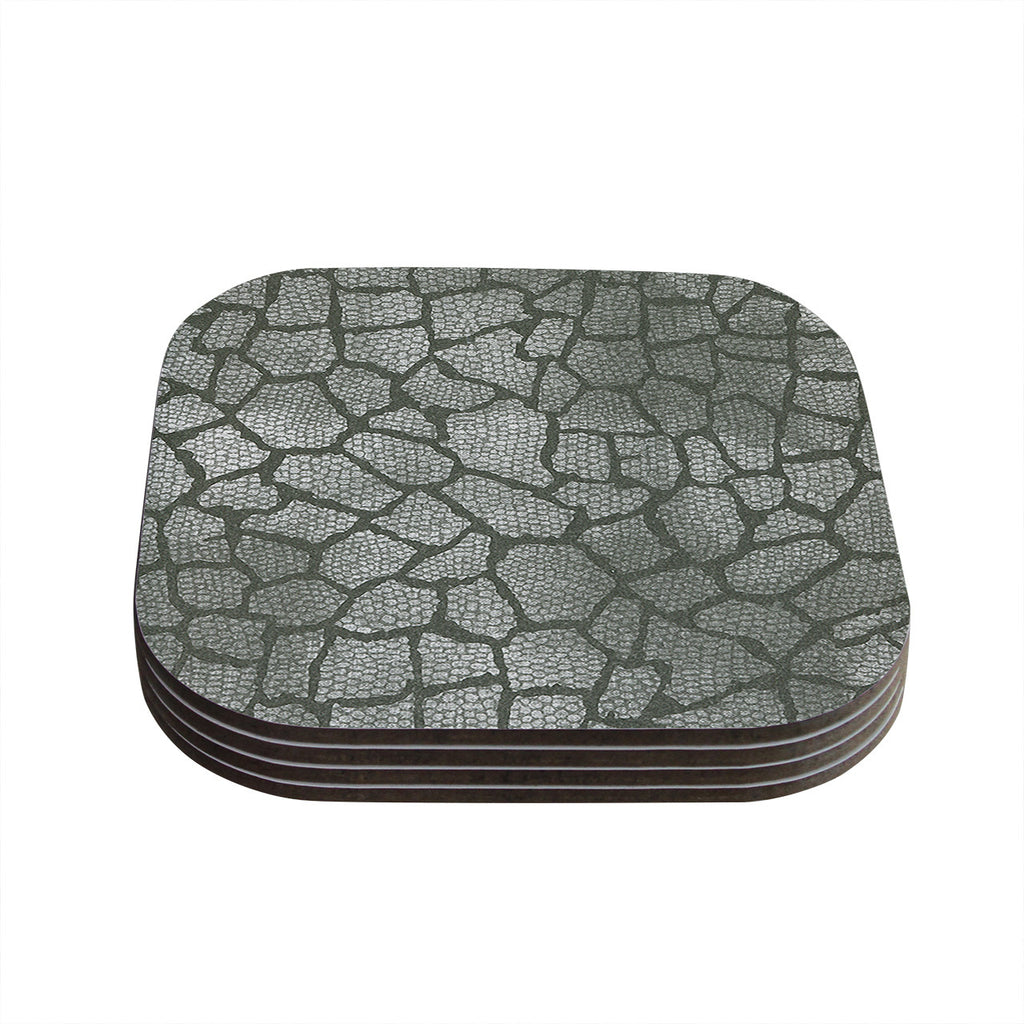 "Heidi Jennings ""Gray Snake Skin"" Grey Coasters (Set of 4)"