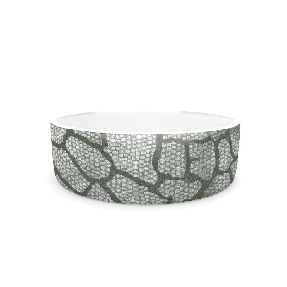 "Heidi Jennings ""Gray Snake Skin"" Grey Pet Bowl - KESS InHouse"