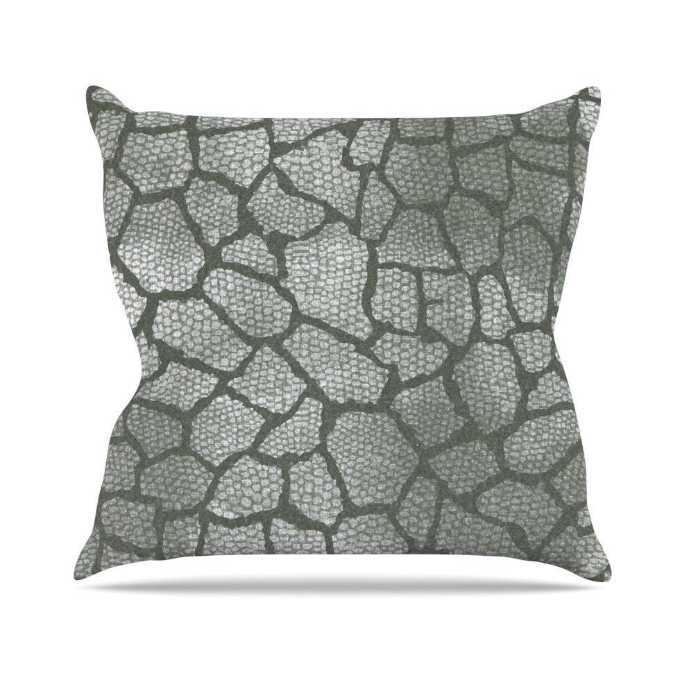 "Heidi Jennings ""Gray Snake Skin"" Grey Outdoor Throw Pillow - KESS InHouse  - 1"