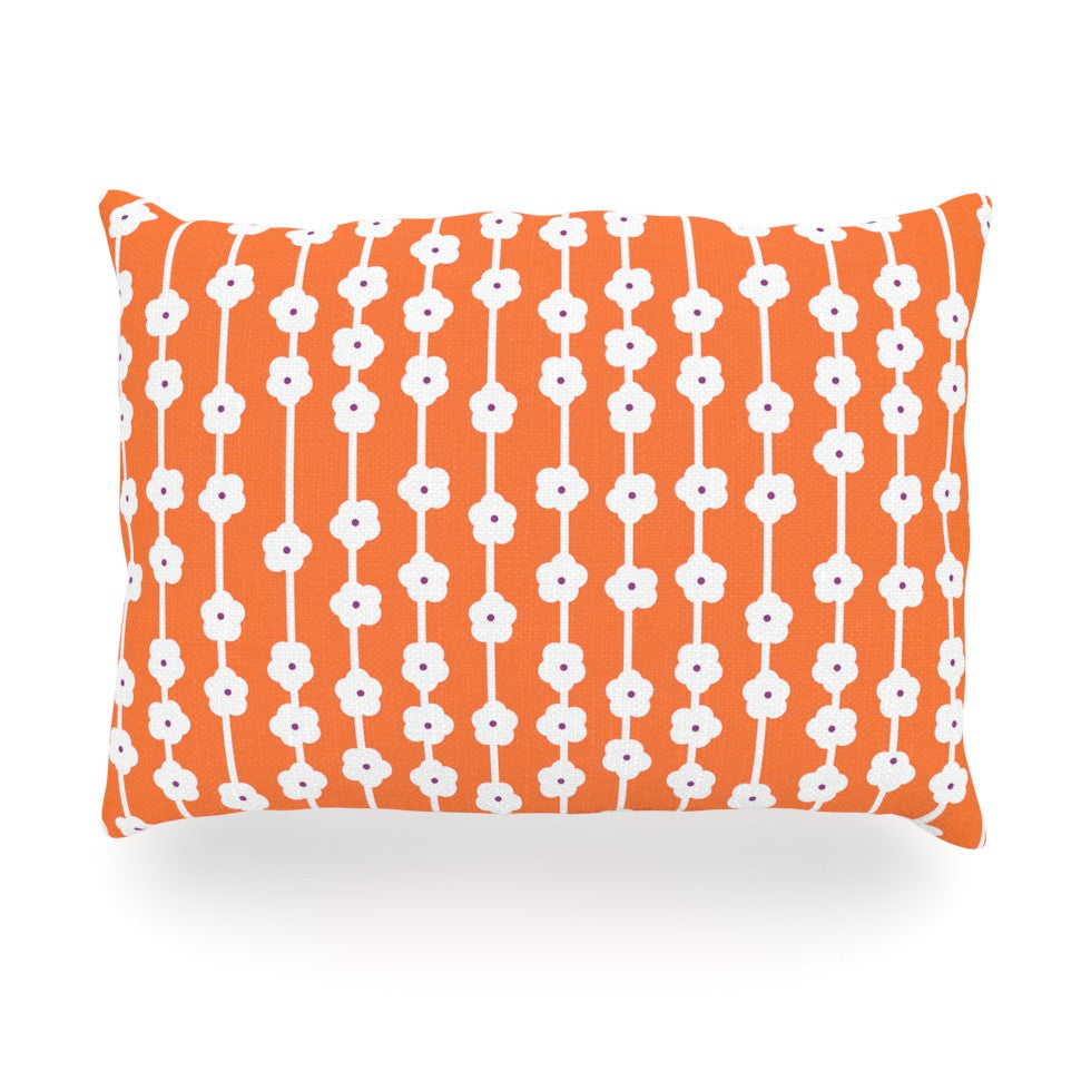 "Heidi Jennings ""Orange You Cute"" Tangerine White Oblong Pillow - KESS InHouse"