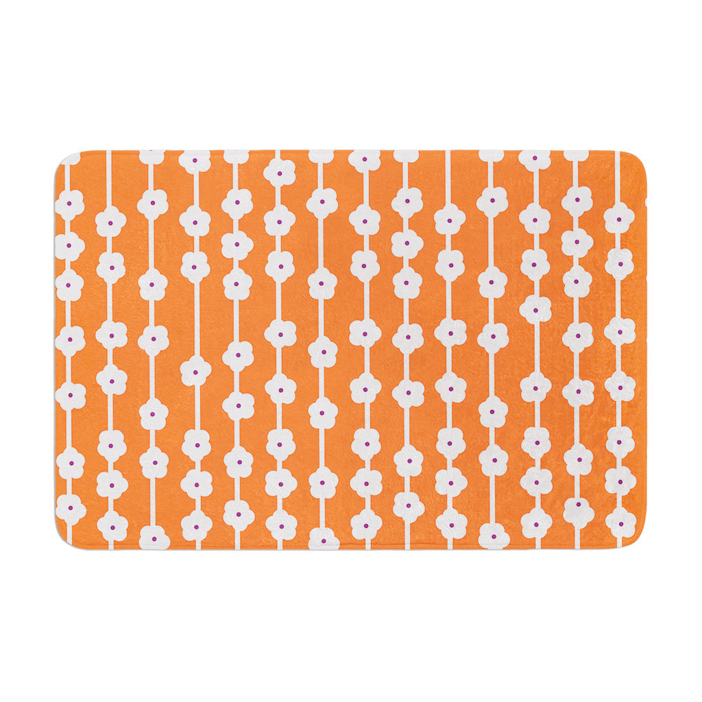 "Heidi Jennings ""Orange You Cute"" Tangerine White Memory Foam Bath Mat - KESS InHouse"
