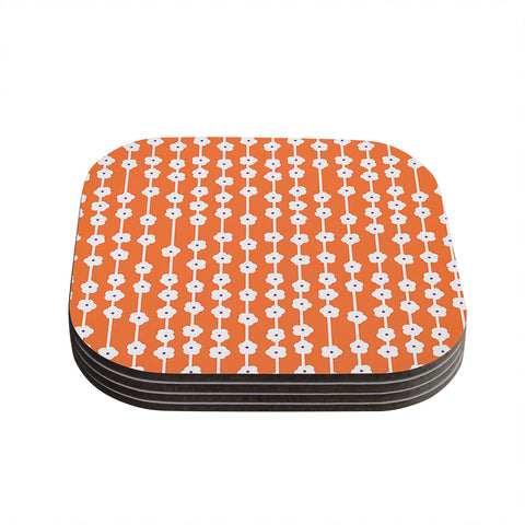 "Heidi Jennings ""Orange You Cute"" Tangerine White Coasters (Set of 4) - Outlet Item"