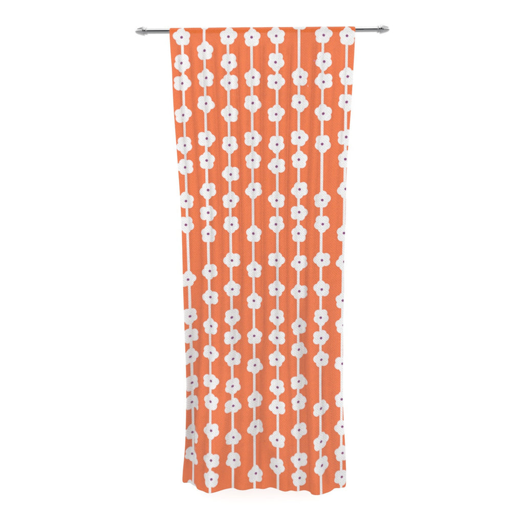 "Heidi Jennings ""Orange You Cute"" Tangerine White Decorative Sheer Curtain - KESS InHouse  - 1"