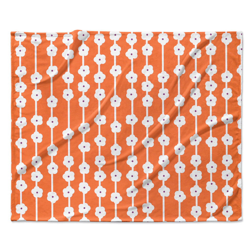 "Heidi Jennings ""Orange You Cute"" Tangerine White Fleece Throw Blanket"