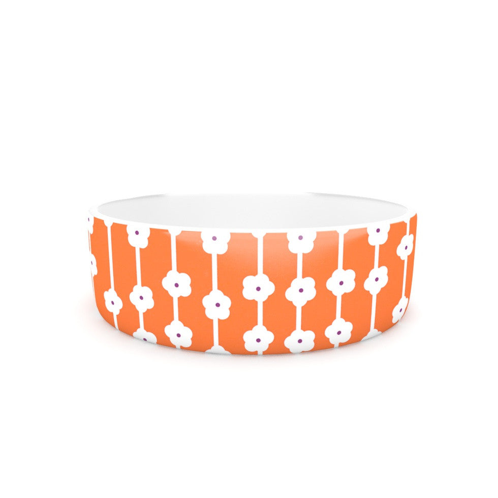 "Heidi Jennings ""Orange You Cute"" Tangerine White Pet Bowl - KESS InHouse"